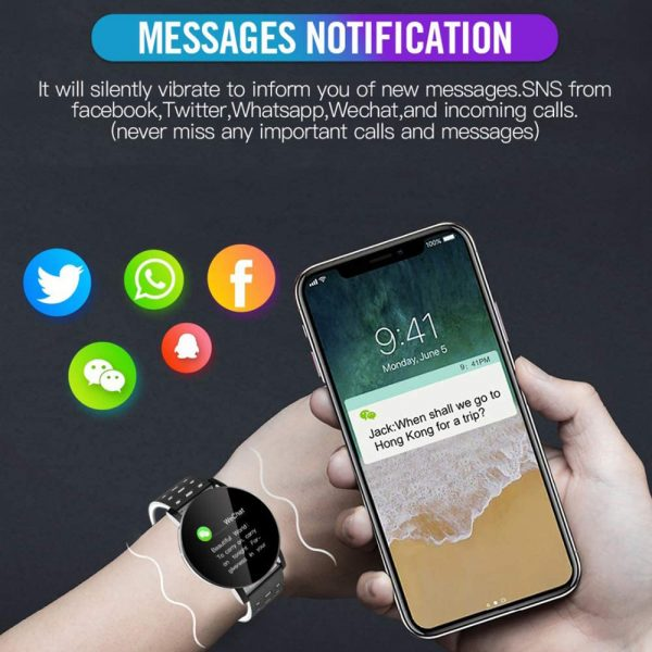 Bluetooth Smartwatch Blood Pressure Monitor Unisex Watch and Fitness Tracker for Android iOS_9