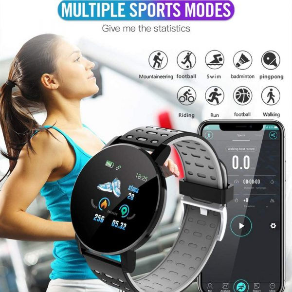 Bluetooth Smartwatch Blood Pressure Monitor Unisex Watch and Fitness Tracker for Android iOS_6