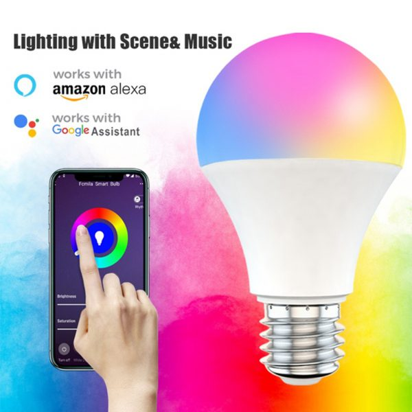 15W Wi-Fi Smart Bulb E27 LED RGB Bulb Works with Alexa / Google Home 85-265V RGB + White -Dimmable Timer Function Magic Bulb_6