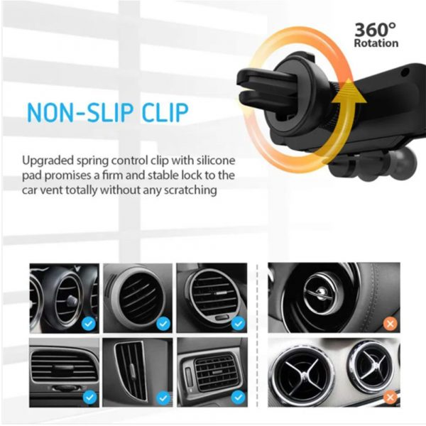 Non-Magnetic Gravity Mobile Phone Holder in Car Air Vent for 6.5 inches phones_1