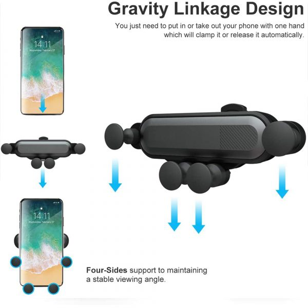 Non-Magnetic Gravity Mobile Phone Holder in Car Air Vent for 6.5 inches phones_4