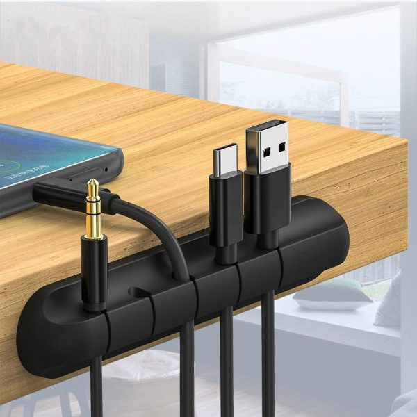 USB Wires Cable Winder Silicone Holder and Organizer Desktop Tidy Management Clips Cable Holder Organizer_0