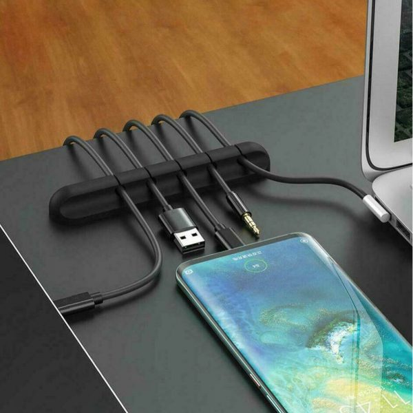 USB Wires Cable Winder Silicone Holder and Organizer Desktop Tidy Management Clips Cable Holder Organizer_3