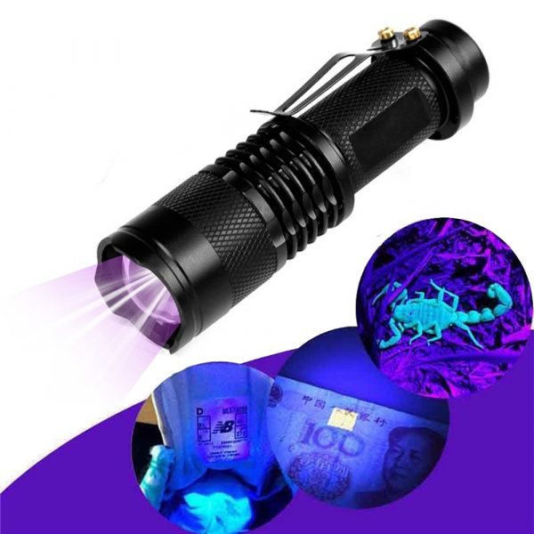 Mini LED UV Flashlight Ultraviolet Flashlight with Zoom Function UV Black Light Fake Bill and Pet Urine Stain Detector_4