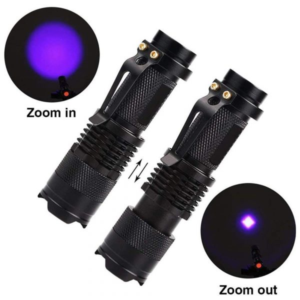Mini LED UV Flashlight Ultraviolet Flashlight with Zoom Function UV Black Light Fake Bill and Pet Urine Stain Detector_1