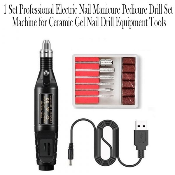 1 Set Professional Electric Nail Manicure Pedicure Drill Set Machine for Ceramic Gel Nail Drill Equipment Tools_10