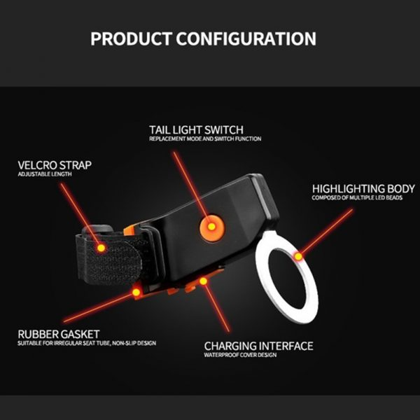USB Charging LED Multiple Lighting Modes Bicycle Light Flashing Tail Light Rear Warning Bicycle Lights_5