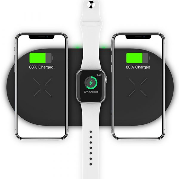 18W 3-in-1 Fast Charging Wireless QI Charger Pad for Apple, Samsung, Apple Watch and AirPods_0