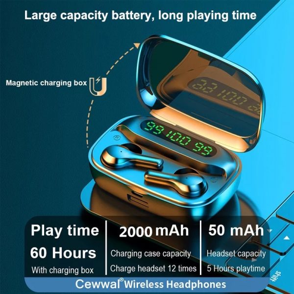 R3 TWS Wireless Earphone Bluetooth V5.0 for Music and Phone Call Headset with Charging Case_9