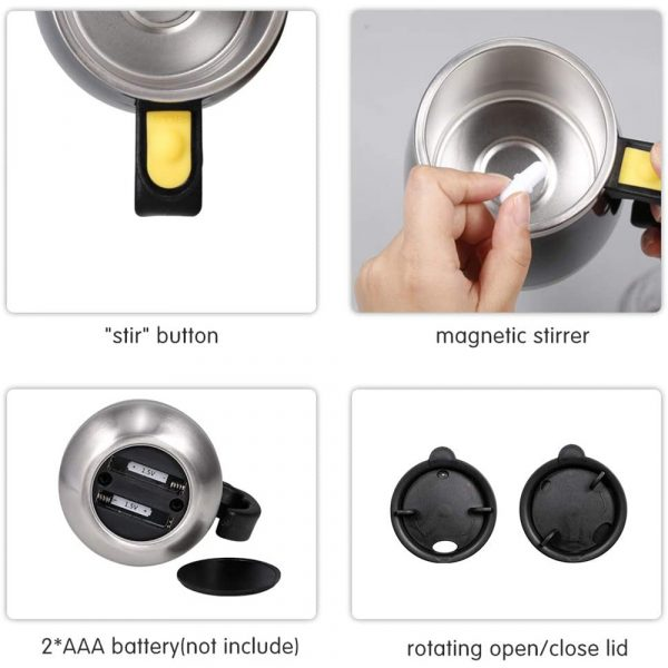 Hot and Cold Battery Operated Magnetic Stainless Steel Self Stirring Mug for Coffee, Tea and Juice_6