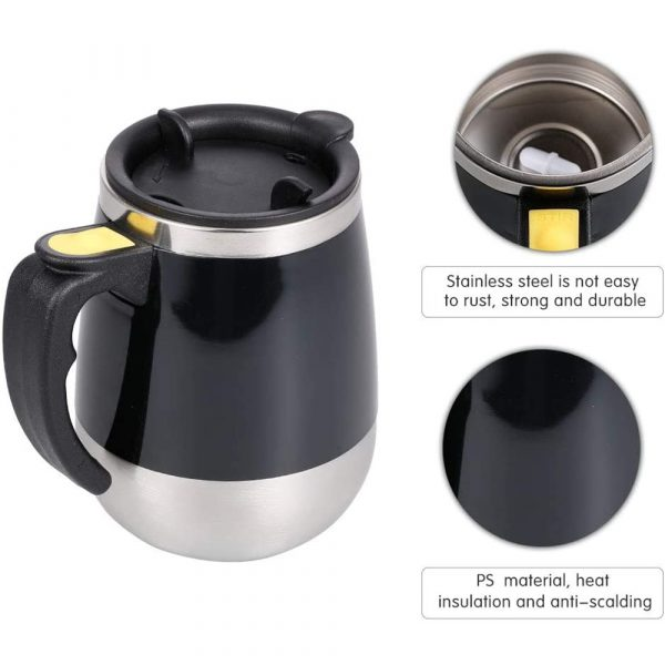 Hot and Cold Battery Operated Magnetic Stainless Steel Self Stirring Mug for Coffee, Tea and Juice_7
