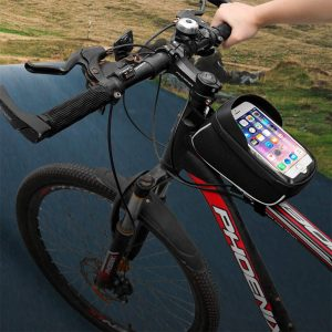 Large Capacity Waterproof Bicycle Phone Mount Bag Phone Case Holder Cycling Top Tube Frame Bag for 6.5 inch Devices