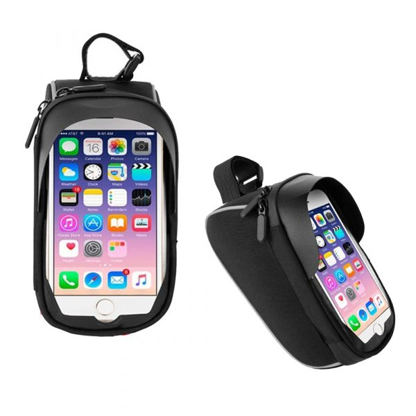 Large Capacity Waterproof Bicycle Phone Mount Bag Phone Case Holder Cycling Top Tube Frame Bag for 6.5 inch Devices_0