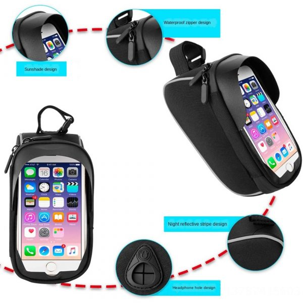 Large Capacity Waterproof Bicycle Phone Mount Bag Phone Case Holder Cycling Top Tube Frame Bag for 6.5 inch Devices_4