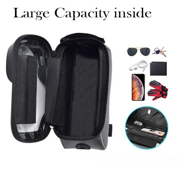 Large Capacity Waterproof Bicycle Phone Mount Bag Phone Case Holder Cycling Top Tube Frame Bag for 6.5 inch Devices_6
