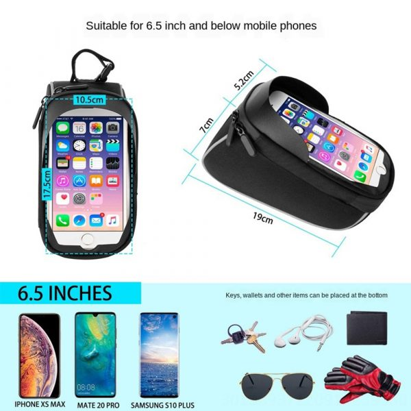 Large Capacity Waterproof Bicycle Phone Mount Bag Phone Case Holder Cycling Top Tube Frame Bag for 6.5 inch Devices_7