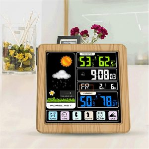 Digital Wireless Multi-Functional Weather Clock Color Screen Creative Home Touch Screen Thermometer Forecast Station Clock