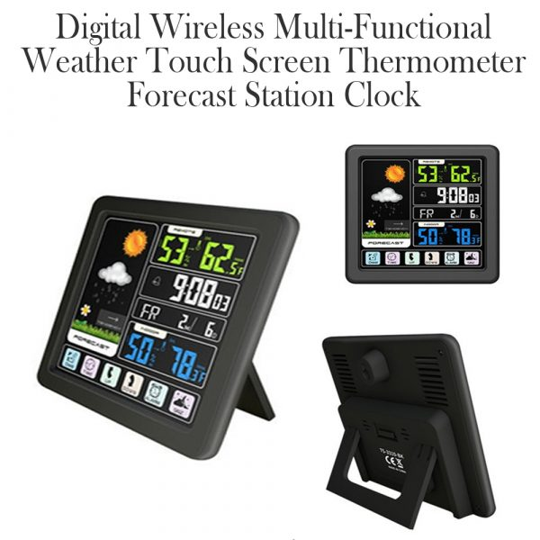 Digital Wireless Multi-Functional Weather Clock Color Screen Creative Home Touch Screen Thermometer Forecast Station Clock_10