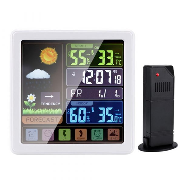 Digital Wireless Multi-Functional Weather Clock Color Screen Creative Home Touch Screen Thermometer Forecast Station Clock_12