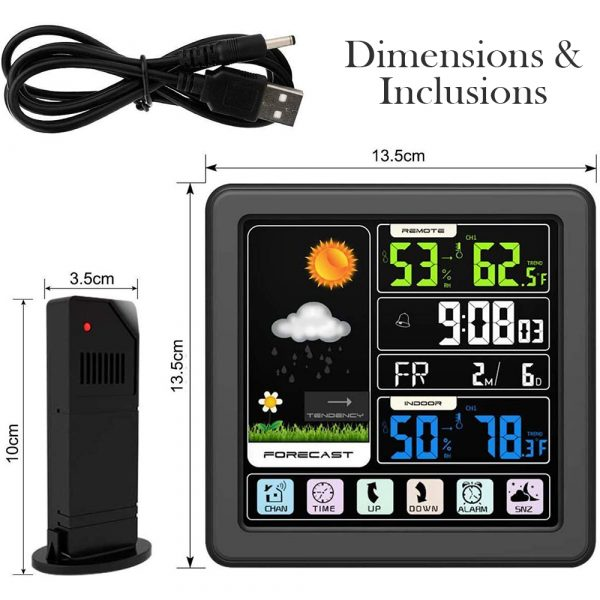 Digital Wireless Multi-Functional Weather Clock Color Screen Creative Home Touch Screen Thermometer Forecast Station Clock_9