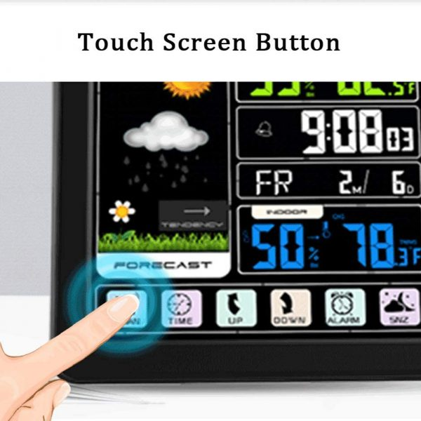 Digital Wireless Multi-Functional Weather Clock Color Screen Creative Home Touch Screen Thermometer Forecast Station Clock_4