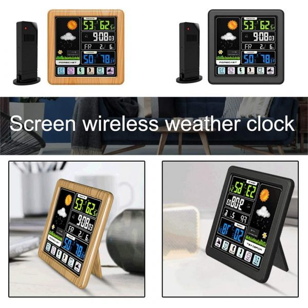 Digital Wireless Multi-Functional Weather Clock Color Screen Creative Home Touch Screen Thermometer Forecast Station Clock_6