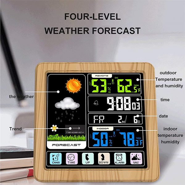 Digital Wireless Multi-Functional Weather Clock Color Screen Creative Home Touch Screen Thermometer Forecast Station Clock_8