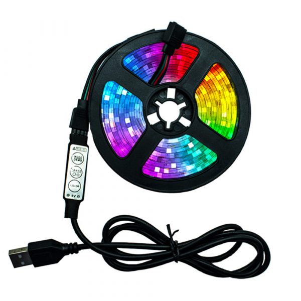 5v USB Interface RGB LED Light Strip Room Light with 3 Key Controller_0