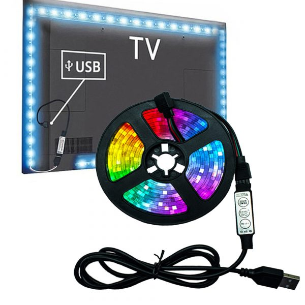 5v USB Interface RGB LED Light Strip Room Light with 3 Key Controller_1