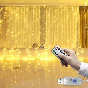 USB Remote Controlled Smart LED Light Curtain with Hook in White, Warm White and Colorful