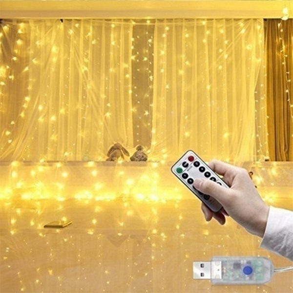 USB Remote Controlled Smart LED Light Curtain with Hook in White, Warm White and Colorful_1