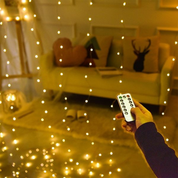 USB Remote Controlled Smart LED Light Curtain with Hook in White, Warm White and Colorful_2