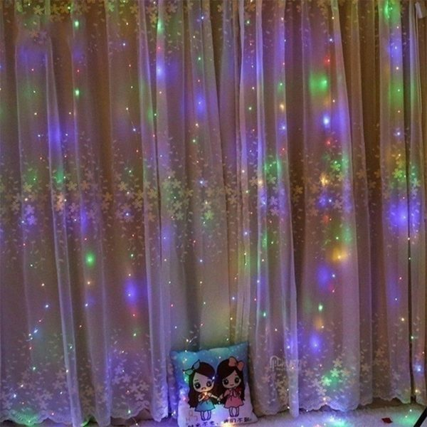 USB Remote Controlled Smart LED Light Curtain with Hook in White, Warm White and Colorful_6