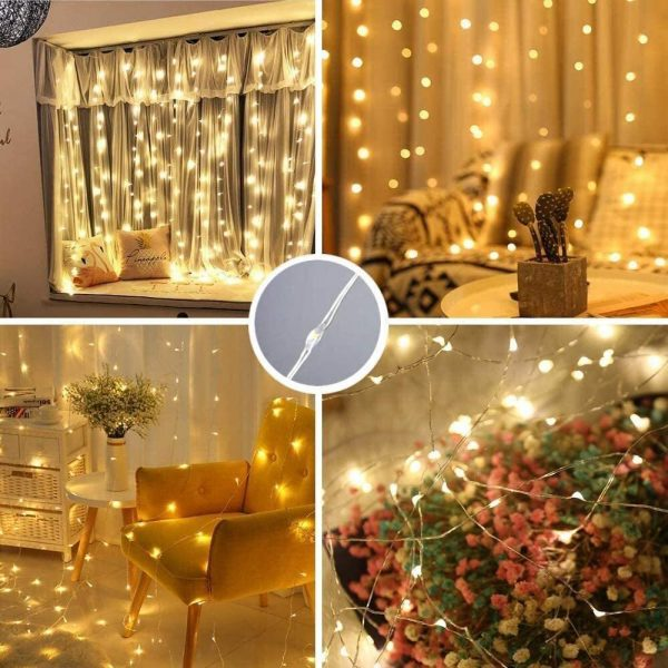 USB Remote Controlled Smart LED Light Curtain with Hook in White, Warm White and Colorful_8