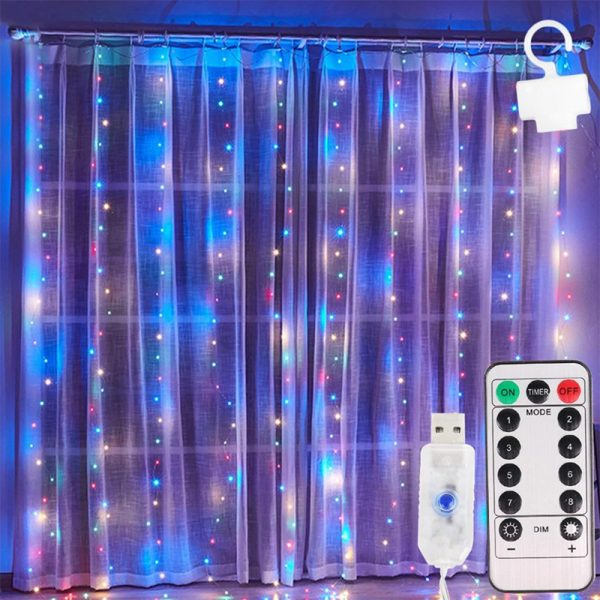 USB Remote Controlled Smart LED Light Curtain with Hook in White, Warm White and Colorful_9