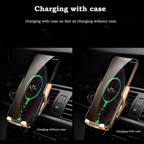 Infrared Sensor Wireless Car Charger for QI Devices and Car Phone Holder Air Vent Clip Type_4