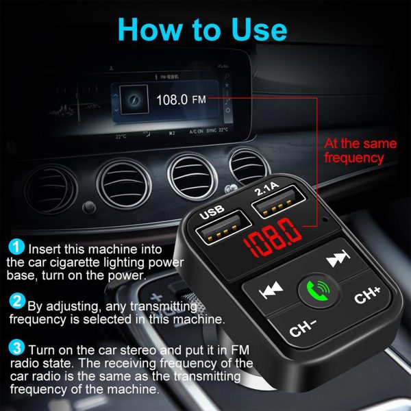 Wireless Bluetooth FM Transmitter Hands-free Car Kit MP3 Audio Music Player Dual USB Radio Modulator and 2.1A USB Charger_8