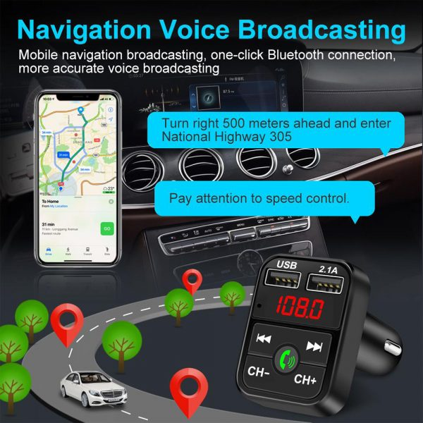 Wireless Bluetooth FM Transmitter Hands-free Car Kit MP3 Audio Music Player Dual USB Radio Modulator and 2.1A USB Charger_9