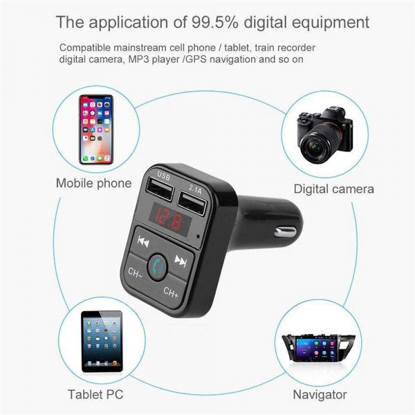 Wireless Bluetooth FM Transmitter Hands-free Car Kit MP3 Audio Music Player Dual USB Radio Modulator and 2.1A USB Charger_10