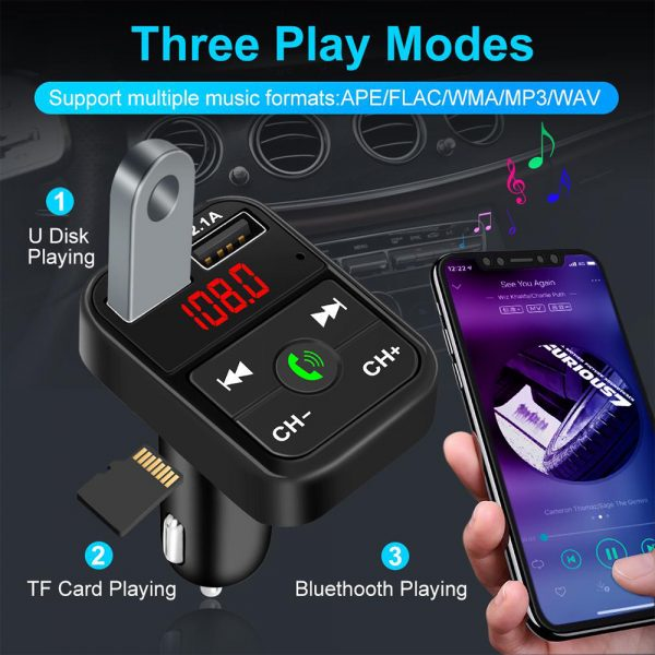 Wireless Bluetooth FM Transmitter Hands-free Car Kit MP3 Audio Music Player Dual USB Radio Modulator and 2.1A USB Charger_11