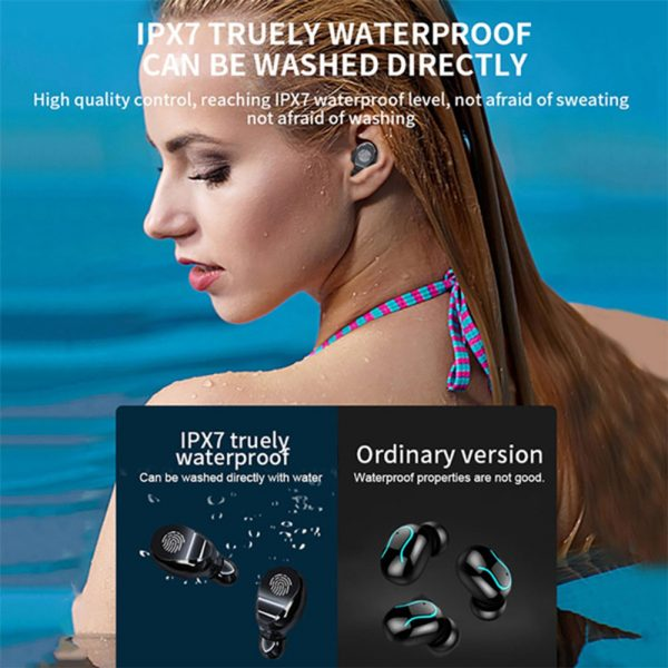 V8 Wireless Earphones Bluetooth 5.0 8D Bass Stereo Waterproof Earbuds Hands-free Headset with Microphone and Charging Case_4