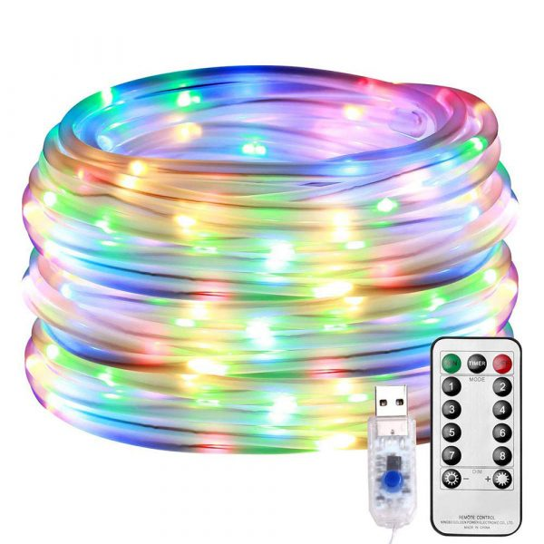 Remote Controlled 8- Function USB Interface PVC Tube String Lights in White, Warm Yellow and Multi-Color_0