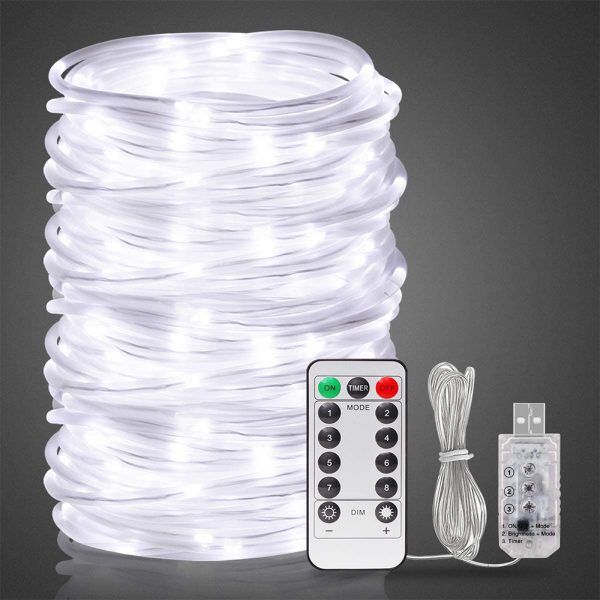 Remote Controlled 8- Function USB Interface PVC Tube String Lights in White, Warm Yellow and Multi-Color_15