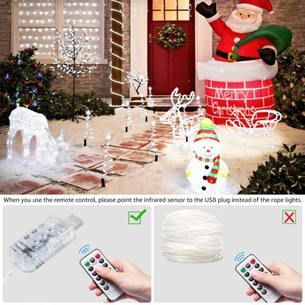 Remote Controlled 8- Function USB Interface PVC Tube String Lights in White, Warm Yellow and Multi-Color_8