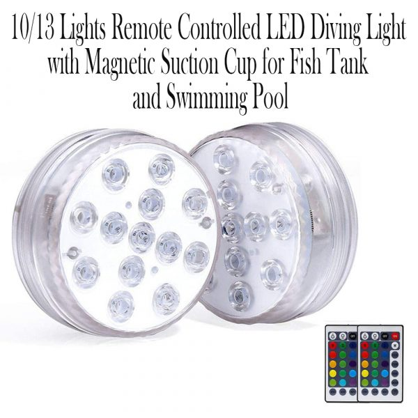 10/13 Lights Remote Controlled LED Diving Light with Magnetic Suction Cup for Fish Tank and Swimming Pool_10