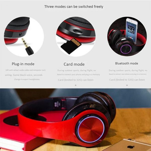 Wireless Bluetooth Rechargeable LED Sports and Gaming Headset_4