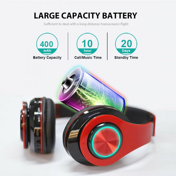Wireless Bluetooth Rechargeable LED Sports and Gaming Headset_5