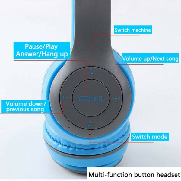 P47 Bluetooth Folding Stereo Headset for Music, Gaming and Exercising_12