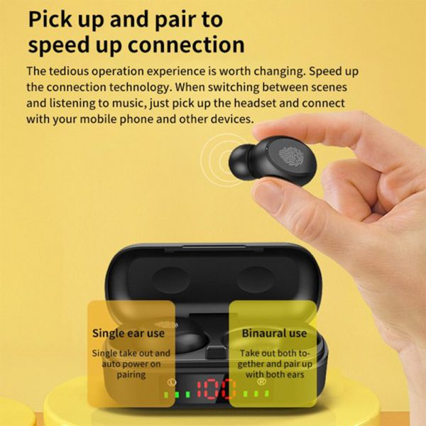 V8 Wireless Earphones Bluetooth 5.0 8D Bass Stereo Waterproof Earbuds Hands-free Headset with Microphone and Charging Case_3