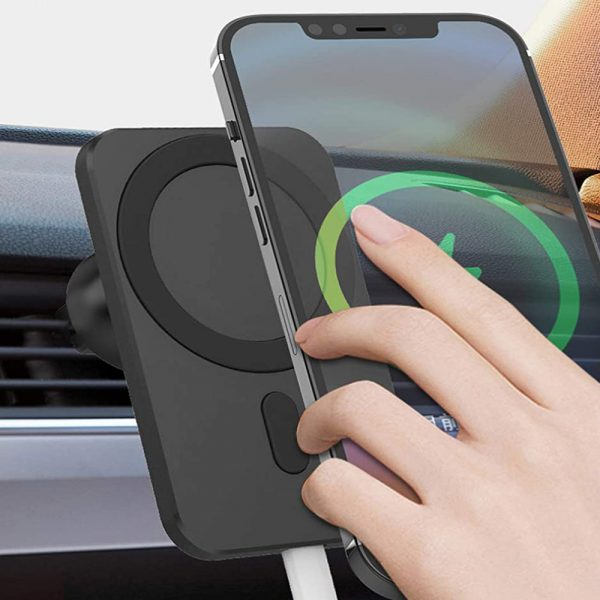 15W Fast Charging Magnetic Wireless Car Charger Stand Holder for QI Phones iPhone 12 Mini Pro Max_1